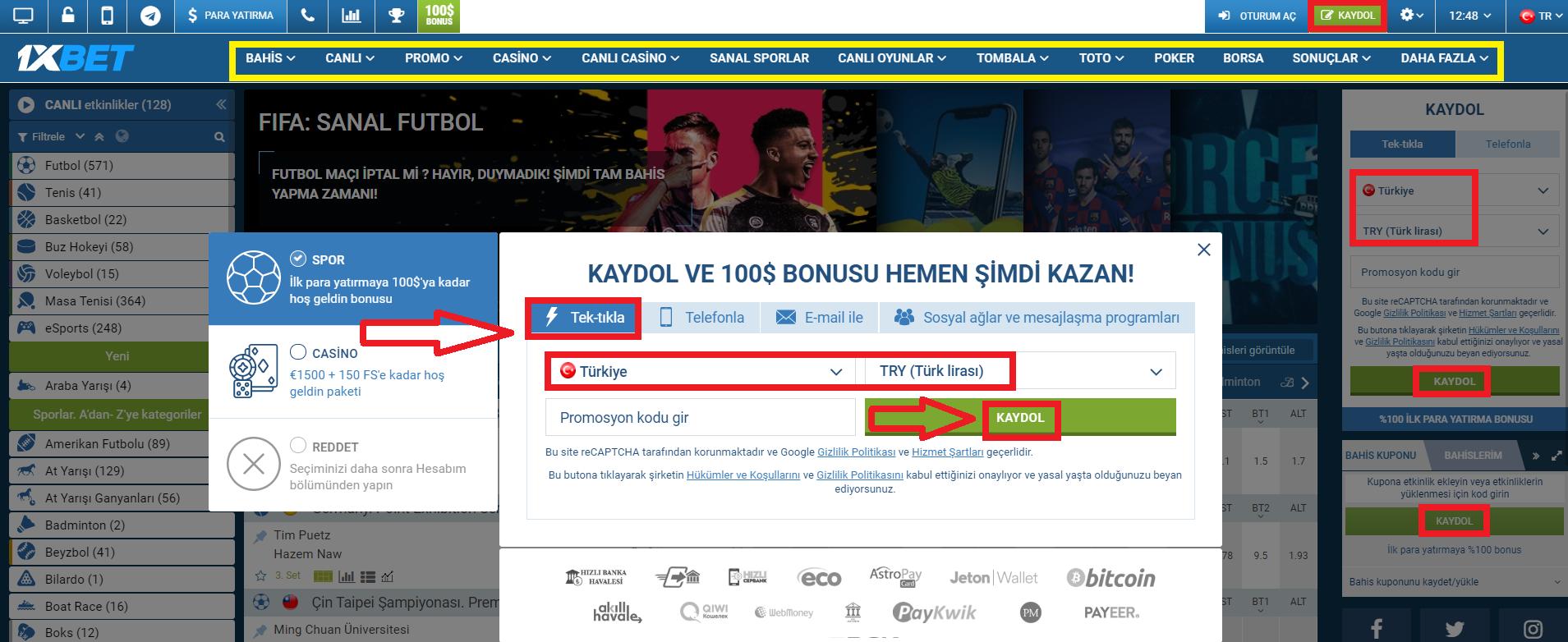 1xBet Türkiye Bonusları